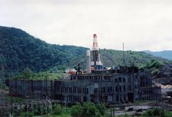 旧北炭清水沢火力発電所が解体されている